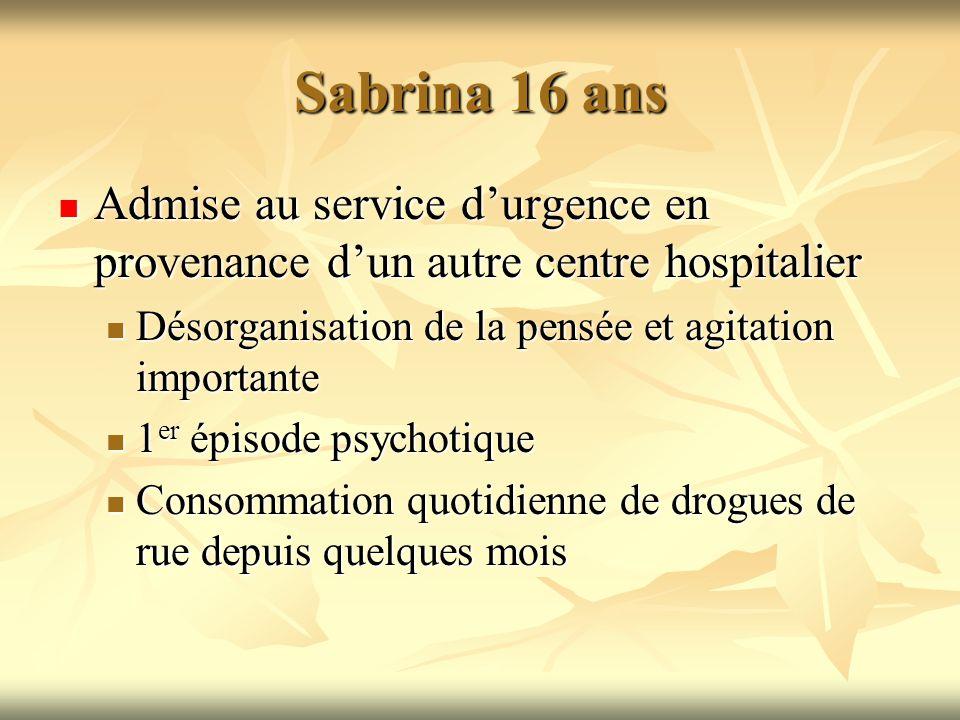 Sabrina 16 ans Admise au service durgence en provenance dun autre centre hospitalier Admise au service durgence en provenance dun autre centre hospita