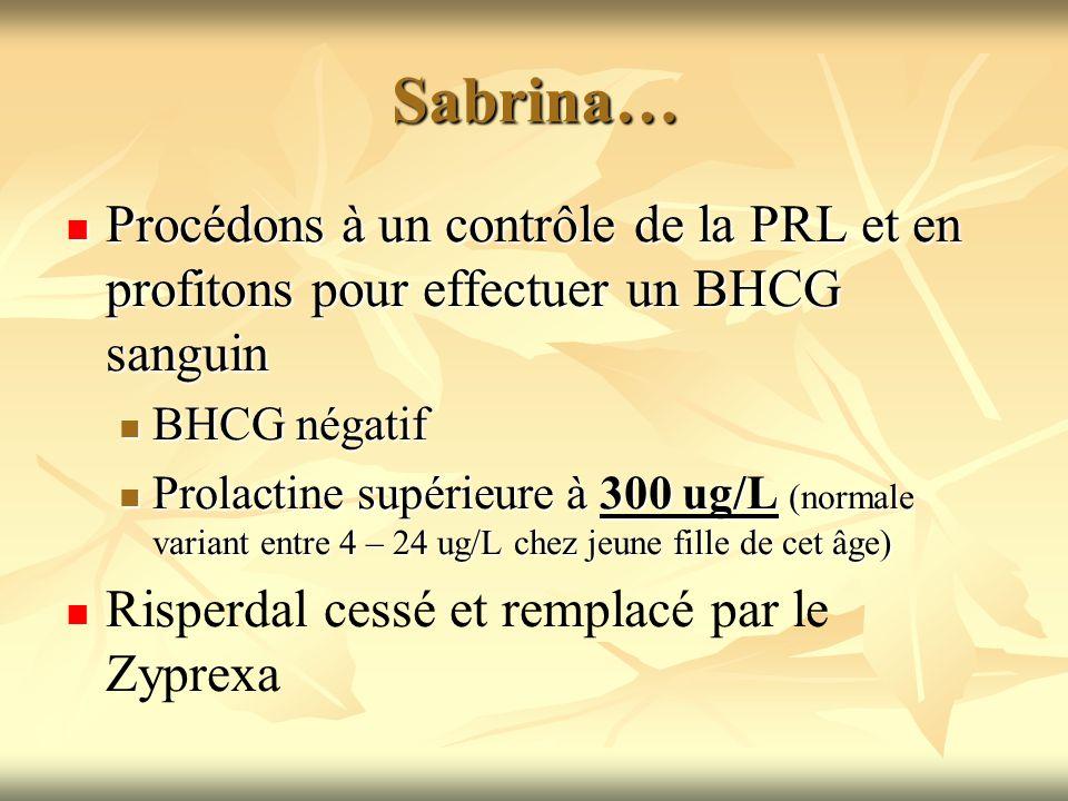 Sabrina… Procédons à un contrôle de la PRL et en profitons pour effectuer un BHCG sanguin Procédons à un contrôle de la PRL et en profitons pour effec