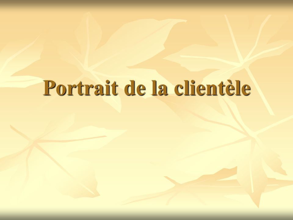 Portrait de la clientèle