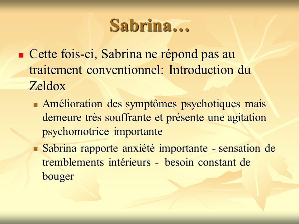 Sabrina… Cette fois-ci, Sabrina ne répond pas au traitement conventionnel: Introduction du Zeldox Cette fois-ci, Sabrina ne répond pas au traitement c