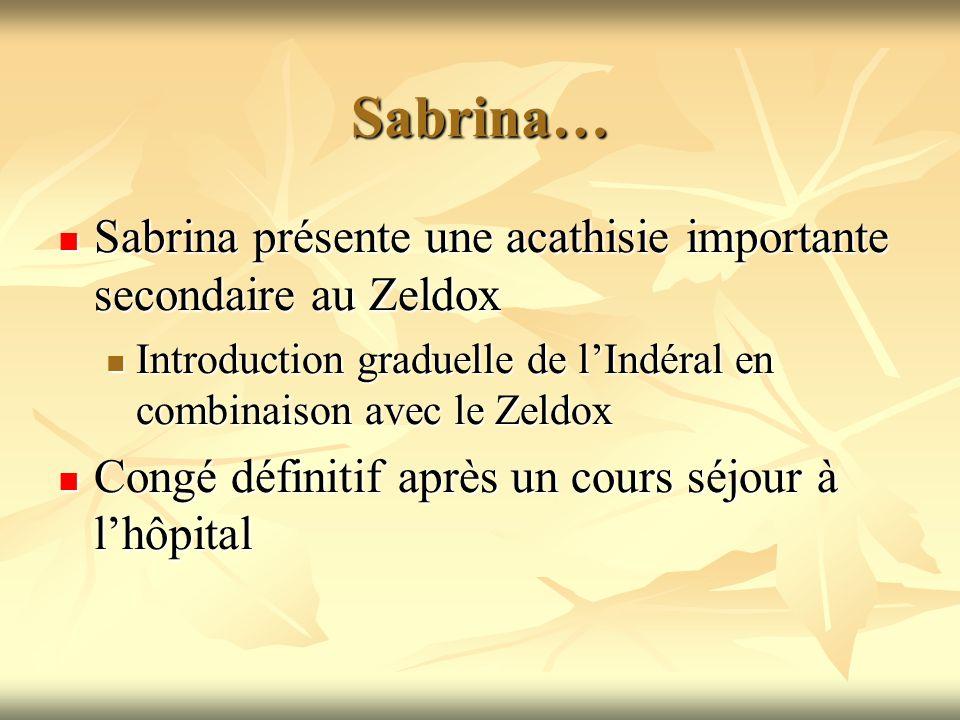 Sabrina… Sabrina présente une acathisie importante secondaire au Zeldox Sabrina présente une acathisie importante secondaire au Zeldox Introduction gr