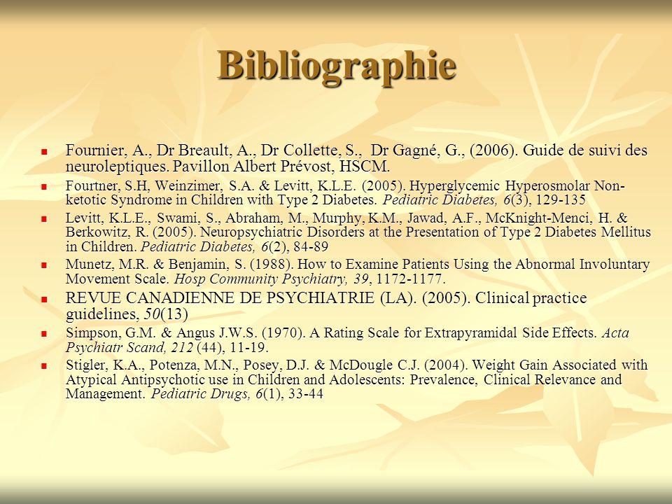 Bibliographie Fournier, A., Dr Breault, A., Dr Collette, S., Dr Gagné, G., (2006). Guide de suivi des neuroleptiques. Pavillon Albert Prévost, HSCM. F