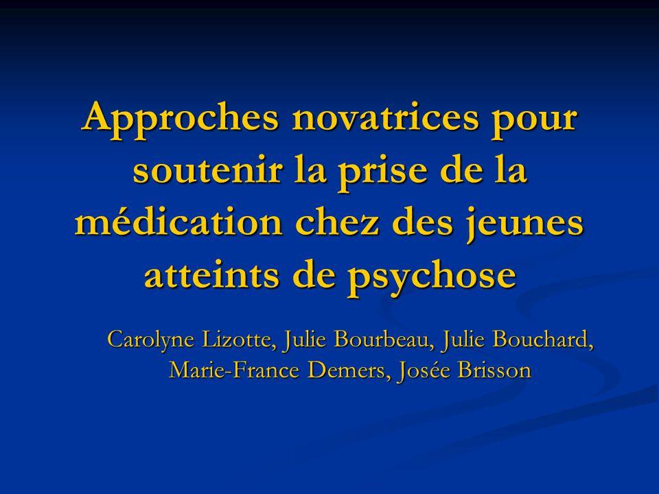 Approches novatrices pour soutenir la prise de la médication chez des jeunes atteints de psychose Carolyne Lizotte, Julie Bourbeau, Julie Bouchard, Ma