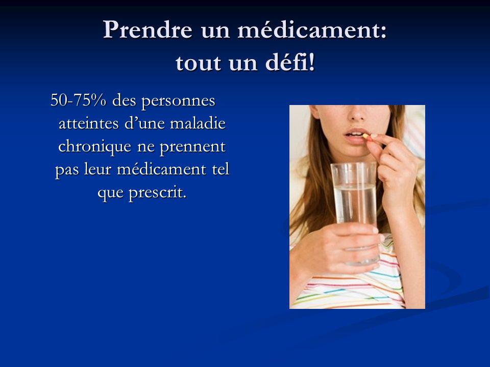 Prendre un médicament: tout un défi! 50-75% des personnes atteintes dune maladie chronique ne prennent pas leur médicament tel que prescrit.
