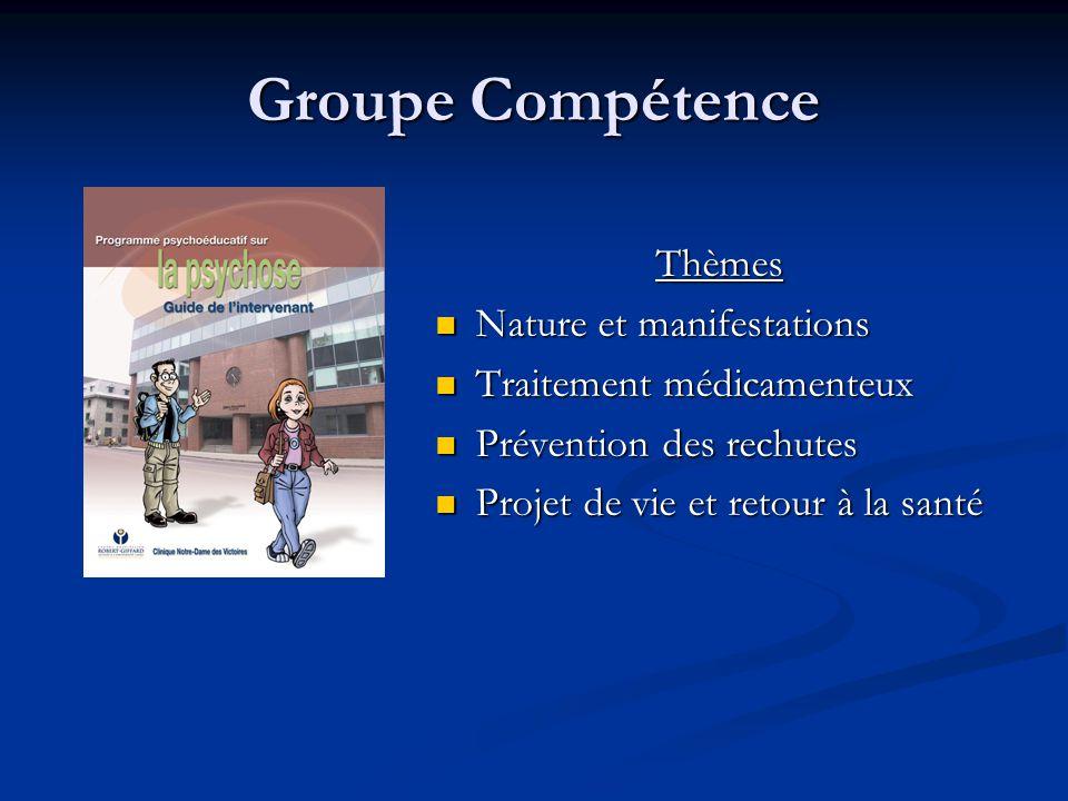 Groupe Compétence Thèmes Nature et manifestations Traitement médicamenteux Prévention des rechutes Projet de vie et retour à la santé