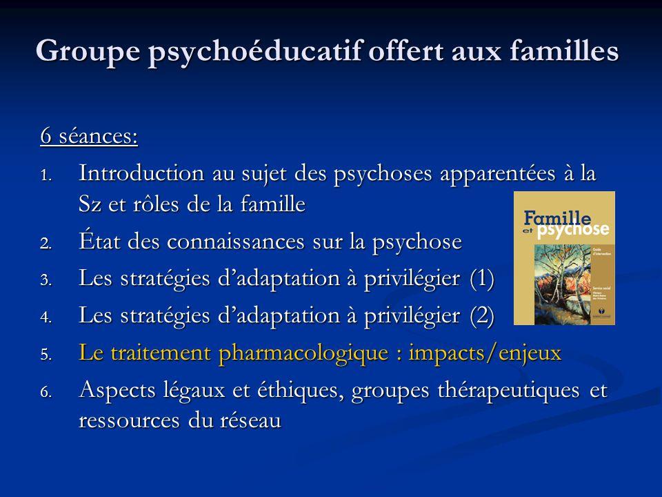 Groupe psychoéducatif offert aux familles 6 séances: 1. Introduction au sujet des psychoses apparentées à la Sz et rôles de la famille 2. État des con