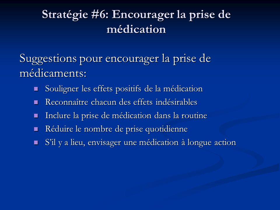 Stratégie #6: Encourager la prise de médication Suggestions pour encourager la prise de médicaments: Souligner les effets positifs de la médication So