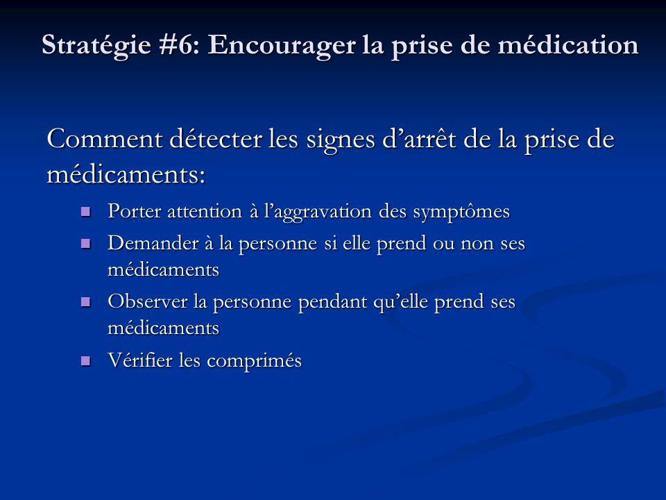 Stratégie #6: Encourager la prise de médication Comment détecter les signes darrêt de la prise de médicaments: Porter attention à laggravation des sym