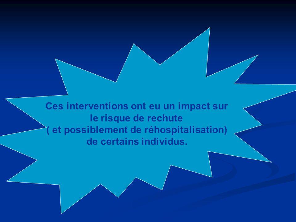Ces interventions ont eu un impact sur le risque de rechute ( et possiblement de réhospitalisation) de certains individus.