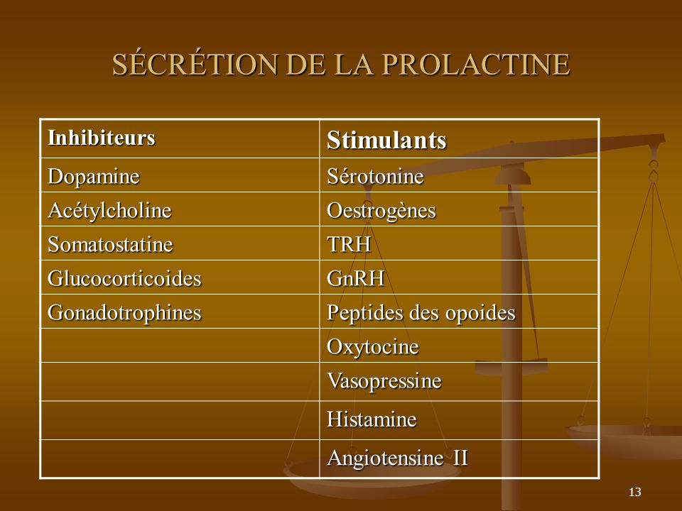 13 SÉCRÉTION DE LA PROLACTINE InhibiteursStimulants DopamineSérotonine AcétylcholineOestrogènes SomatostatineTRH GlucocorticoidesGnRH Gonadotrophines