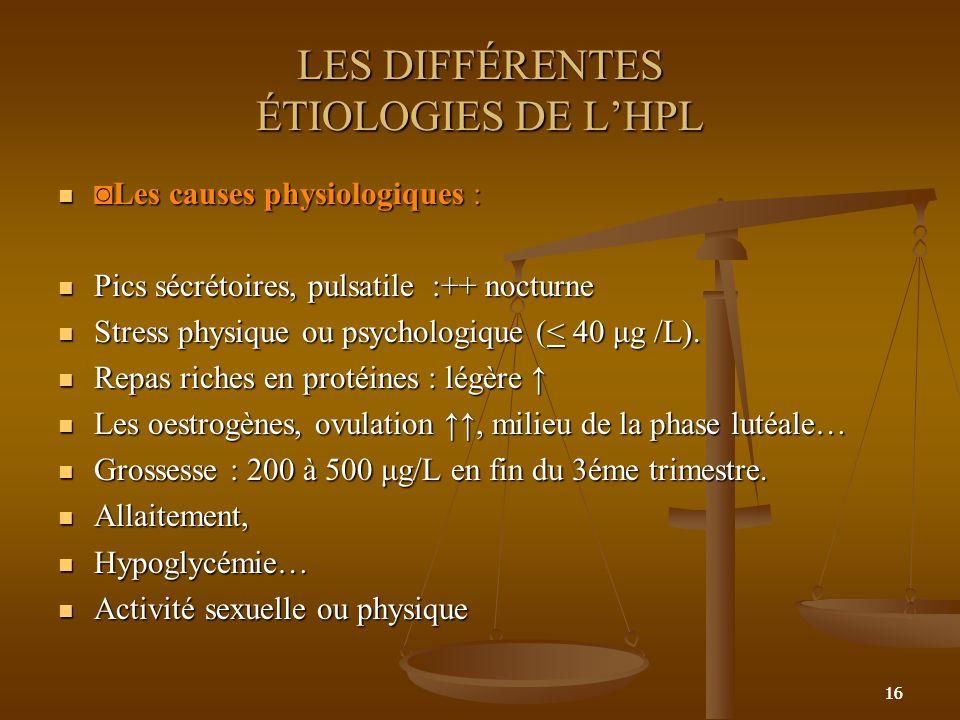 16 LES DIFFÉRENTES ÉTIOLOGIES DE LHPL Les causes physiologiques :Les causes physiologiques : Pics sécrétoires, pulsatile :++ nocturne Pics sécrétoires