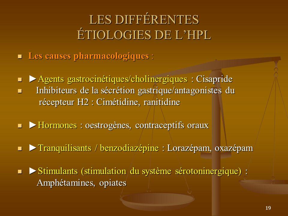19 LES DIFFÉRENTES ÉTIOLOGIES DE LHPL Les causes pharmacologiques : Les causes pharmacologiques : Agents gastrocinétiques/cholinergiques : CisaprideAg