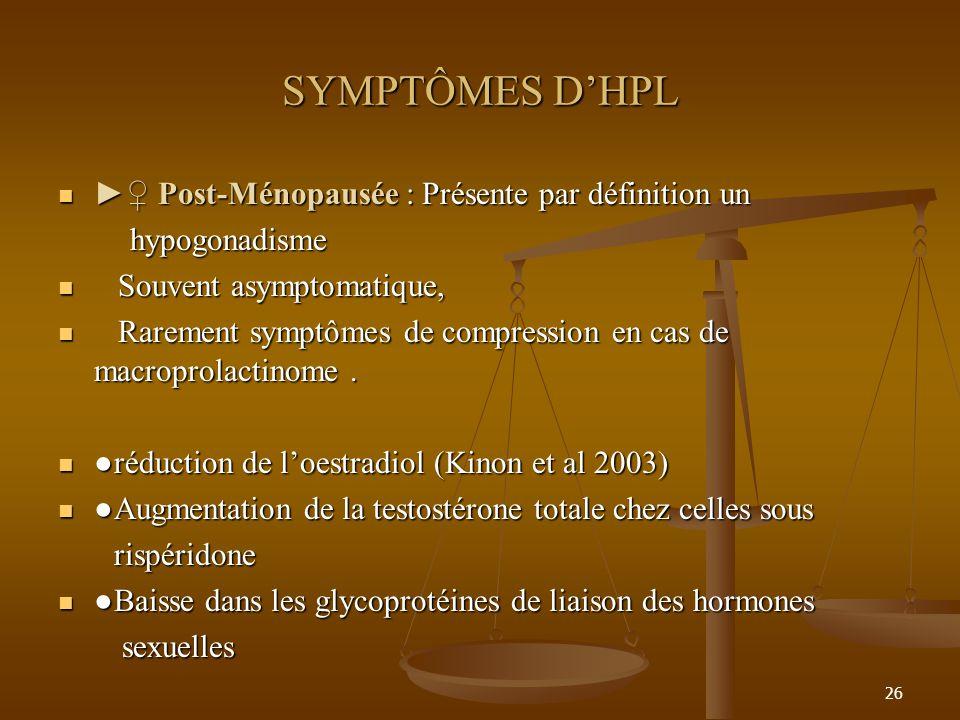 26 SYMPTÔMES DHPL Post-Ménopausée : Présente par définition un Post-Ménopausée : Présente par définition un hypogonadisme hypogonadisme Souvent asympt