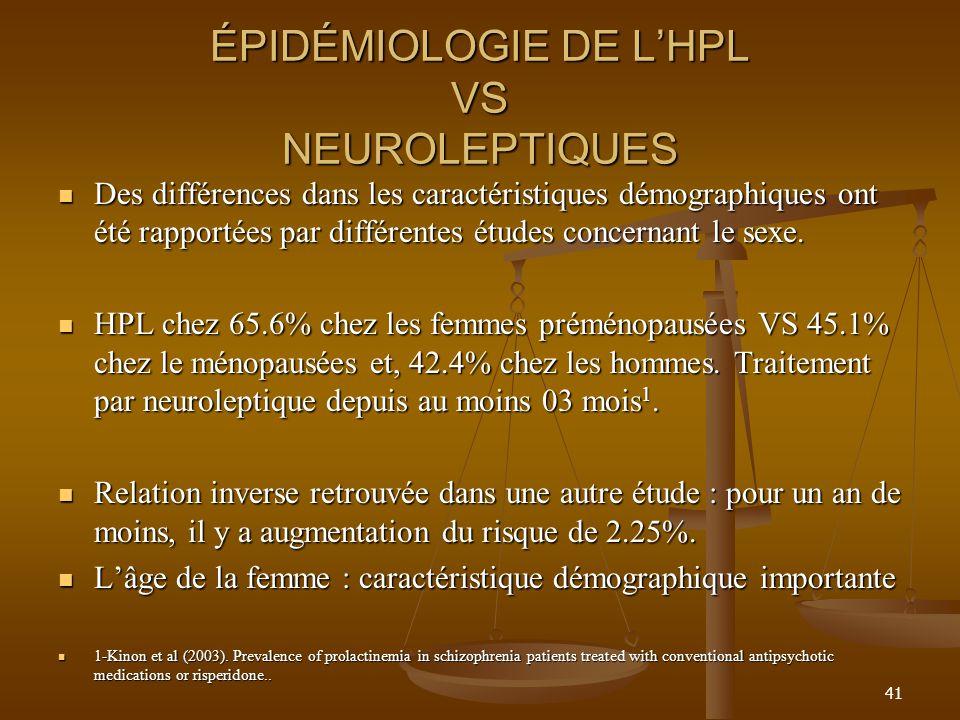 ÉPIDÉMIOLOGIE DE LHPL VS NEUROLEPTIQUES Des différences dans les caractéristiques démographiques ont été rapportées par différentes études concernant