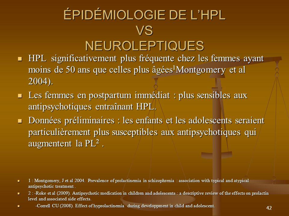 ÉPIDÉMIOLOGIE DE LHPL VS NEUROLEPTIQUES HPL significativement plus fréquente chez les femmes ayant moins de 50 ans que celles plus âgées 1 Montgomery et al 2004).