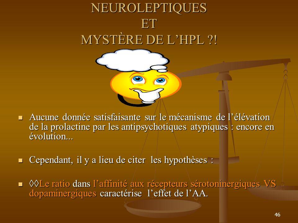 46 NEUROLEPTIQUES ET MYSTÈRE DE LHPL ?! Aucune donnée satisfaisante sur le mécanisme de lélévation de la prolactine par les antipsychotiques atypiques
