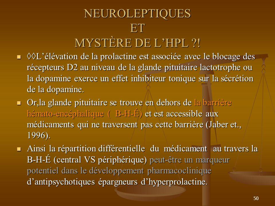 50 NEUROLEPTIQUES ET MYSTÈRE DE LHPL ?! Lélévation de la prolactine est associée avec le blocage des récepteurs D2 au niveau de la glande pituitaire l