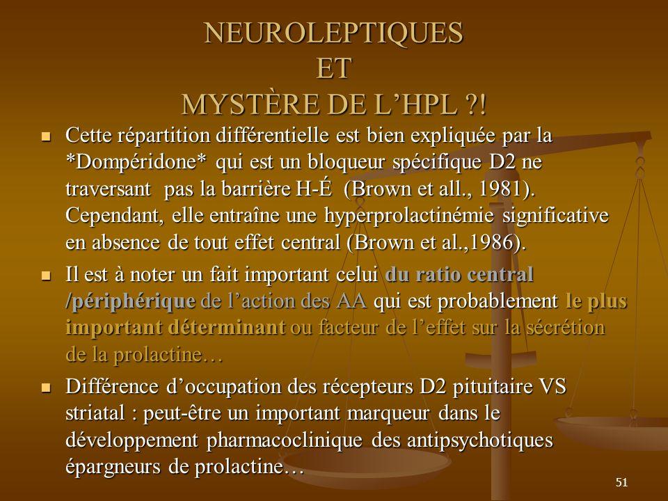 51 NEUROLEPTIQUES ET MYSTÈRE DE LHPL ?! Cette répartition différentielle est bien expliquée par la *Dompéridone* qui est un bloqueur spécifique D2 ne