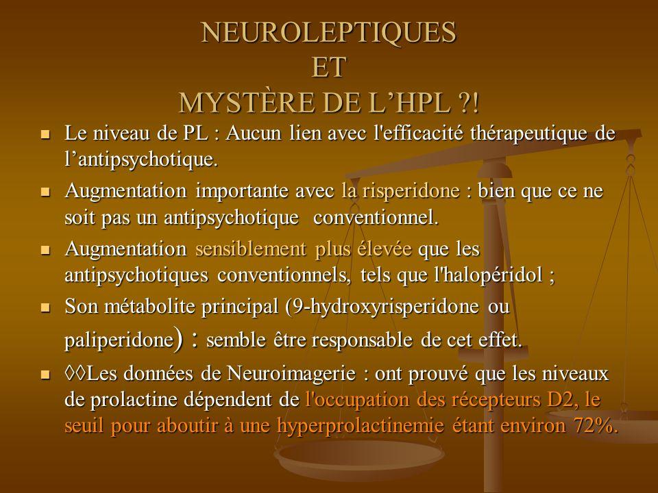 NEUROLEPTIQUES ET MYSTÈRE DE LHPL ?! Le niveau de PL : Aucun lien avec l'efficacité thérapeutique de lantipsychotique. Le niveau de PL : Aucun lien av