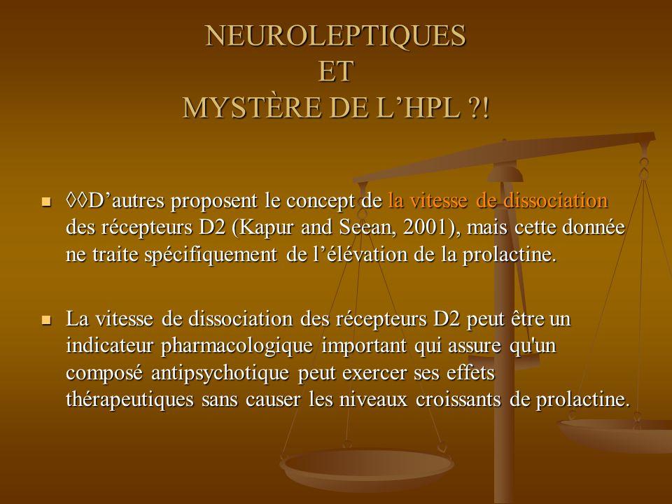 NEUROLEPTIQUES ET MYSTÈRE DE LHPL ?! Dautres proposent le concept de la vitesse de dissociation des récepteurs D2 (Kapur and Seean, 2001), mais cette