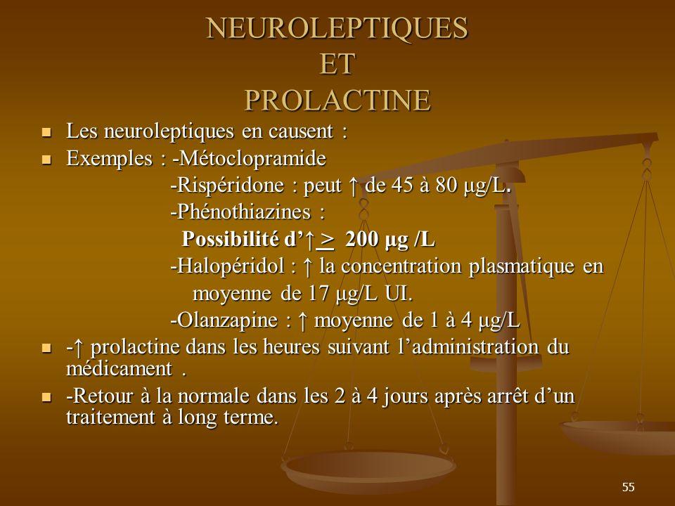 55 NEUROLEPTIQUES ET PROLACTINE Les neuroleptiques en causent : Les neuroleptiques en causent : Exemples : -Métoclopramide Exemples : -Métoclopramide -Rispéridone : peut de 45 à 80 μg/L.