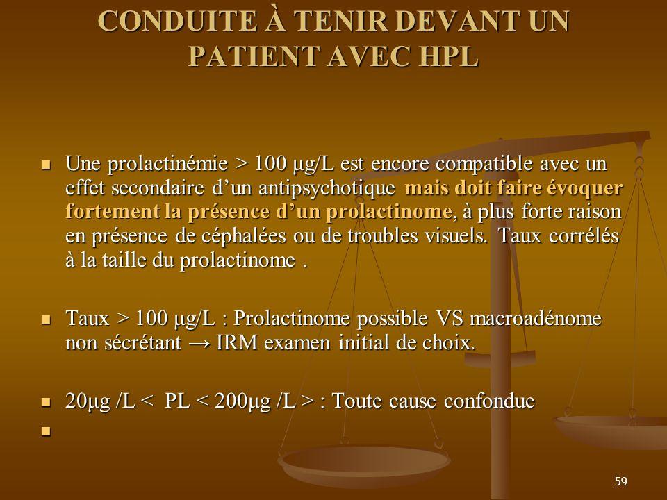 59 CONDUITE À TENIR DEVANT UN PATIENT AVEC HPL CONDUITE À TENIR DEVANT UN PATIENT AVEC HPL Une prolactinémie > 100 μg/L est encore compatible avec un