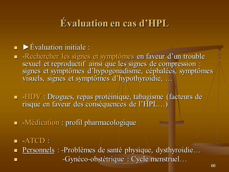 60 Évaluation en cas dHPL Évaluation initiale : Évaluation initiale : -Rechercher les signes et symptômes en faveur dun trouble sexuel et reproductif