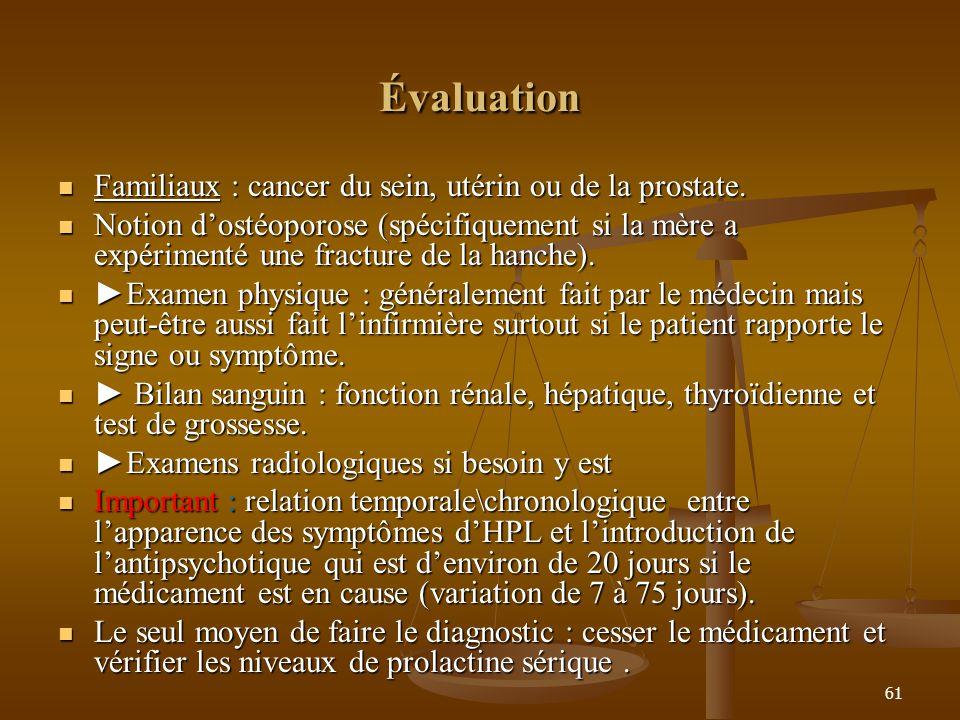 61 Évaluation Familiaux : cancer du sein, utérin ou de la prostate. Familiaux : cancer du sein, utérin ou de la prostate. Notion dostéoporose (spécifi