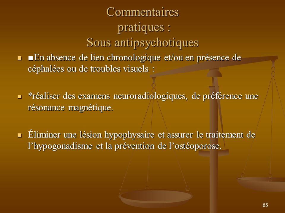65 Commentaires pratiques : Sous antipsychotiques En absence de lien chronologique et/ou en présence de céphalées ou de troubles visuels : En absence