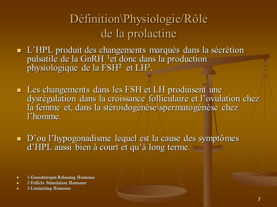 7 Définition\Physiologie/Rôle de la prolactine LHPL produit des changements marqués dans la sécrétion pulsatile de la GnRH 1 et donc dans la production physiologique de la FSH 2 et LH 3.