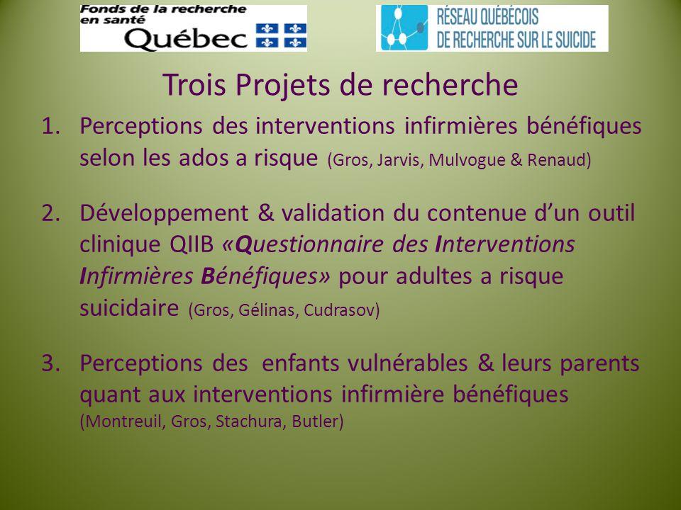 Trois Projets de recherche 1.Perceptions des interventions infirmières bénéfiques selon les ados a risque (Gros, Jarvis, Mulvogue & Renaud) 2.Développ