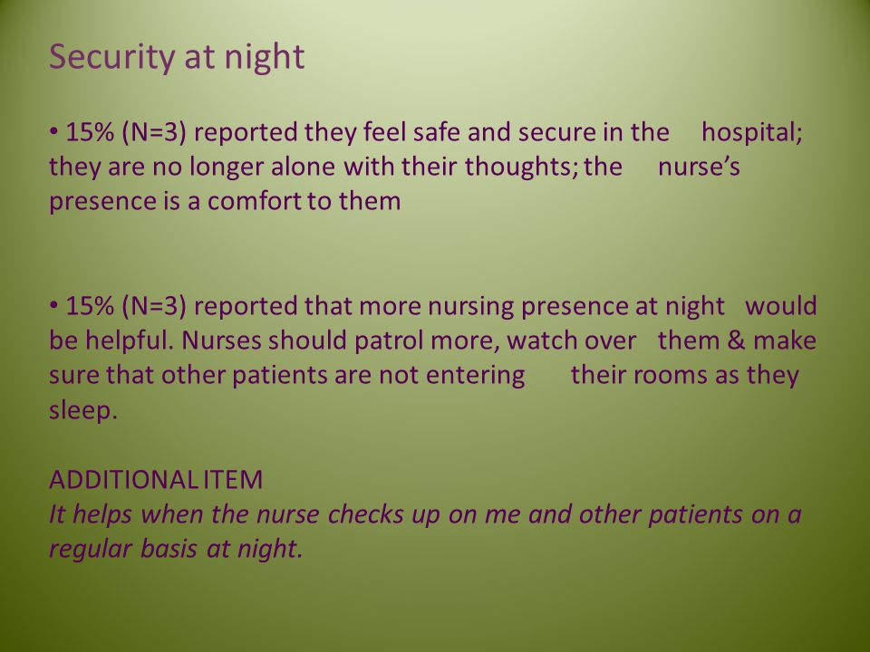 Security at night 15% (N=3) reported they feel safe and secure in the hospital; they are no longer alone with their thoughts; the nurses presence is a comfort to them 15% (N=3) reported that more nursing presence at night would be helpful.