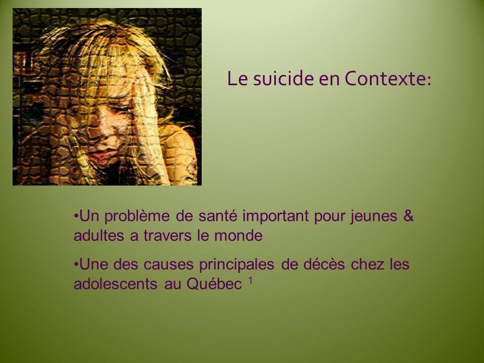 Le suicide en Contexte: Un problème de santé important pour jeunes & adultes a travers le monde Une des causes principales de décès chez les adolescen