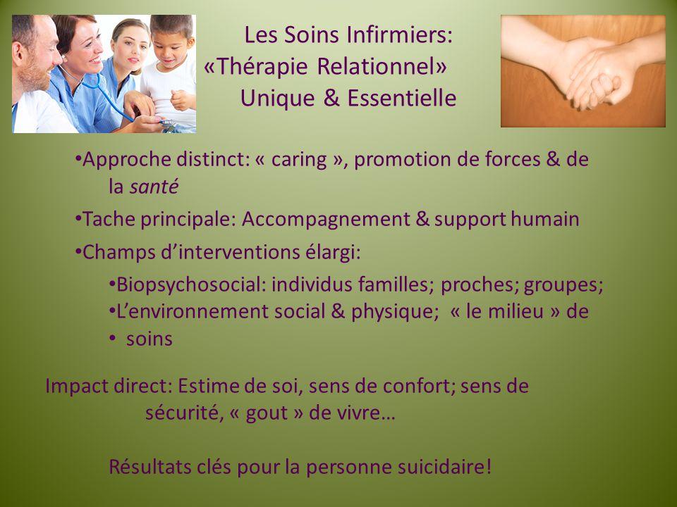 Les Soins Infirmiers: «Thérapie Relationnel» Unique & Essentielle Approche distinct: « caring », promotion de forces & de la santé Tache principale: A