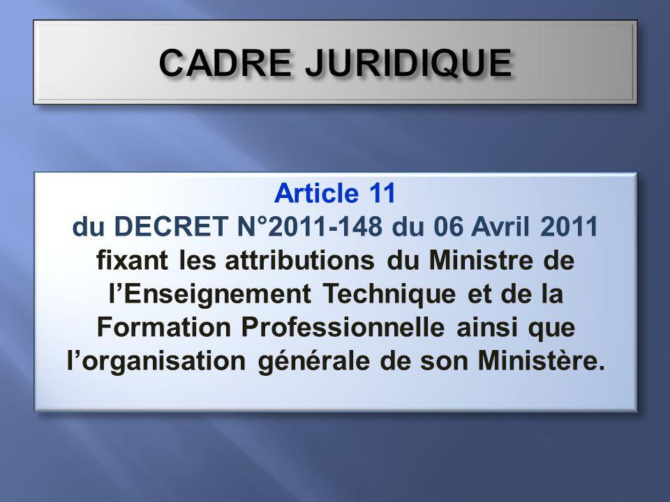 Article 11 du DECRET N°2011-148 du 06 Avril 2011 fixant les attributions du Ministre de lEnseignement Technique et de la Formation Professionnelle ainsi que lorganisation générale de son Ministère.