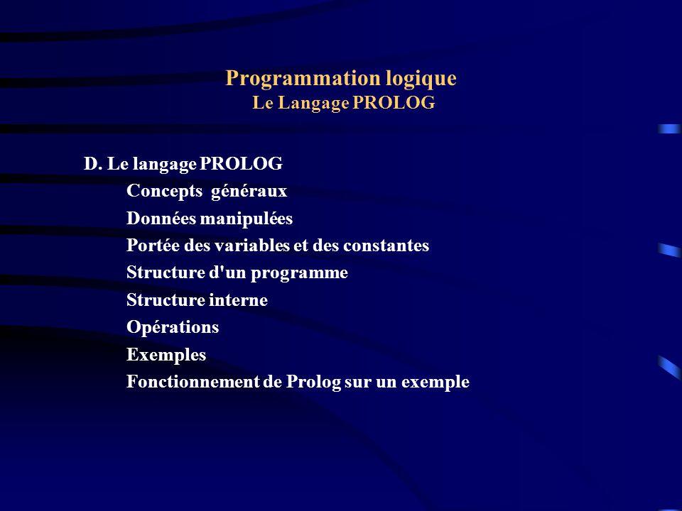 Programmation logique Le Langage PROLOG D. Le langage PROLOG Concepts généraux Données manipulées Portée des variables et des constantes Structure d'u