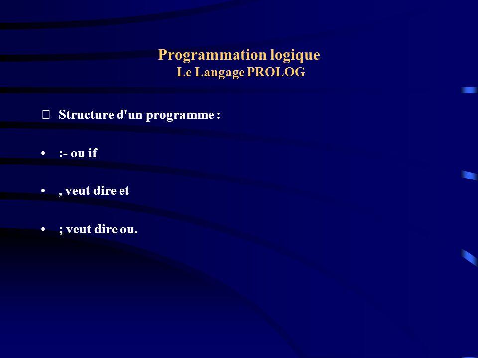 Programmation logique Le Langage PROLOG Structure d'un programme : :- ou if, veut dire et ; veut dire ou.