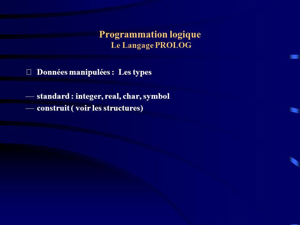 Programmation logique Le Langage PROLOG Données manipulées : Les types standard : integer, real, char, symbol construit ( voir les structures)