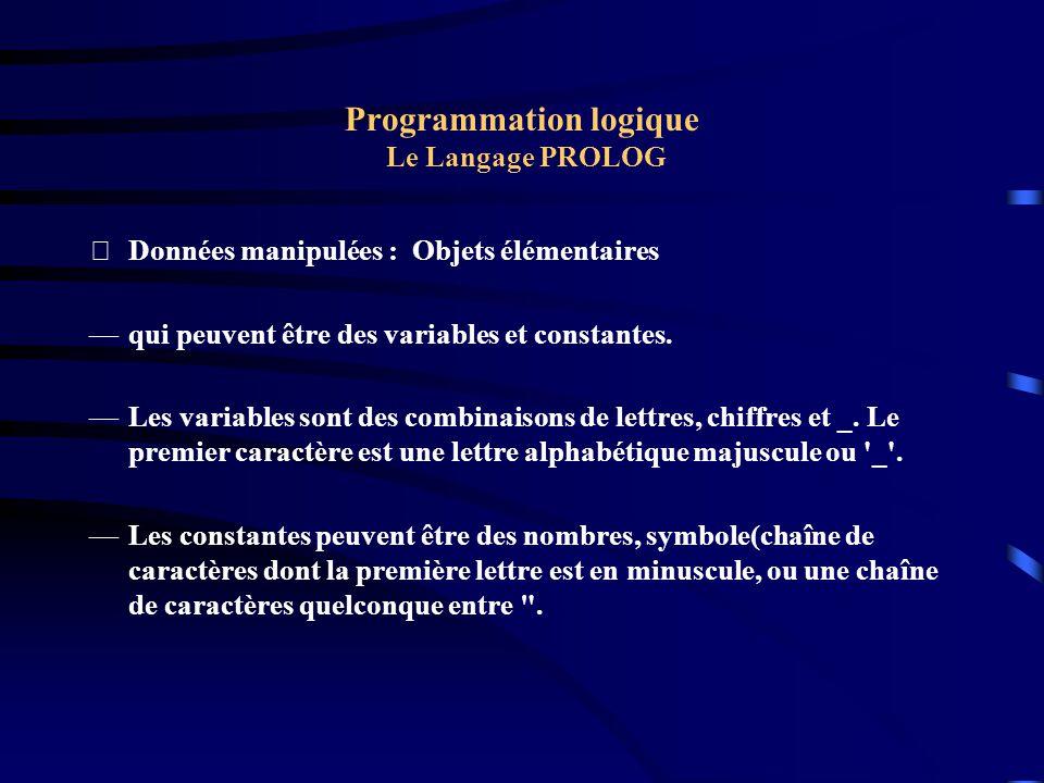 Programmation logique Le Langage PROLOG Données manipulées : Objets élémentaires qui peuvent être des variables et constantes. Les variables sont des