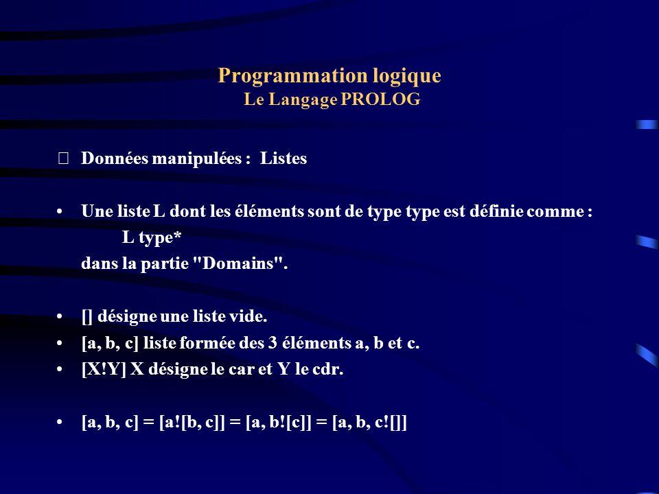 Programmation logique Le Langage PROLOG Données manipulées : Listes Une liste L dont les éléments sont de type type est définie comme : L type* dans