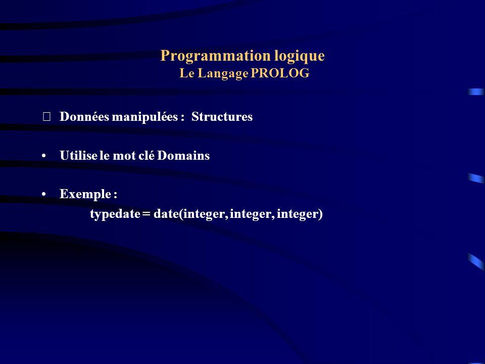 Programmation logique Le Langage PROLOG Données manipulées : Structures Utilise le mot clé Domains Exemple : typedate = date(integer, integer, intege