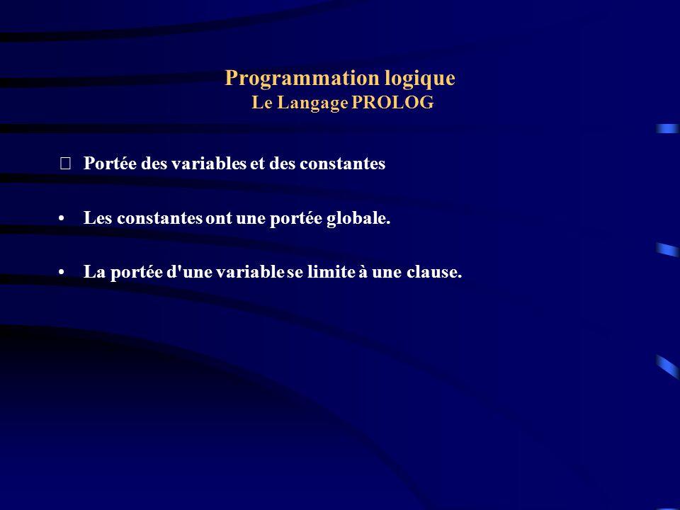 Programmation logique Le Langage PROLOG Portée des variables et des constantes Les constantes ont une portée globale. La portée d'une variable se lim