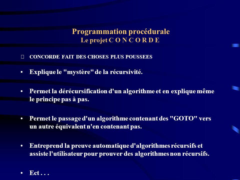 Programmation procédurale Le projet C O N C O R D E CONCORDE FAIT DES CHOSES PLUS POUSSEES Explique le