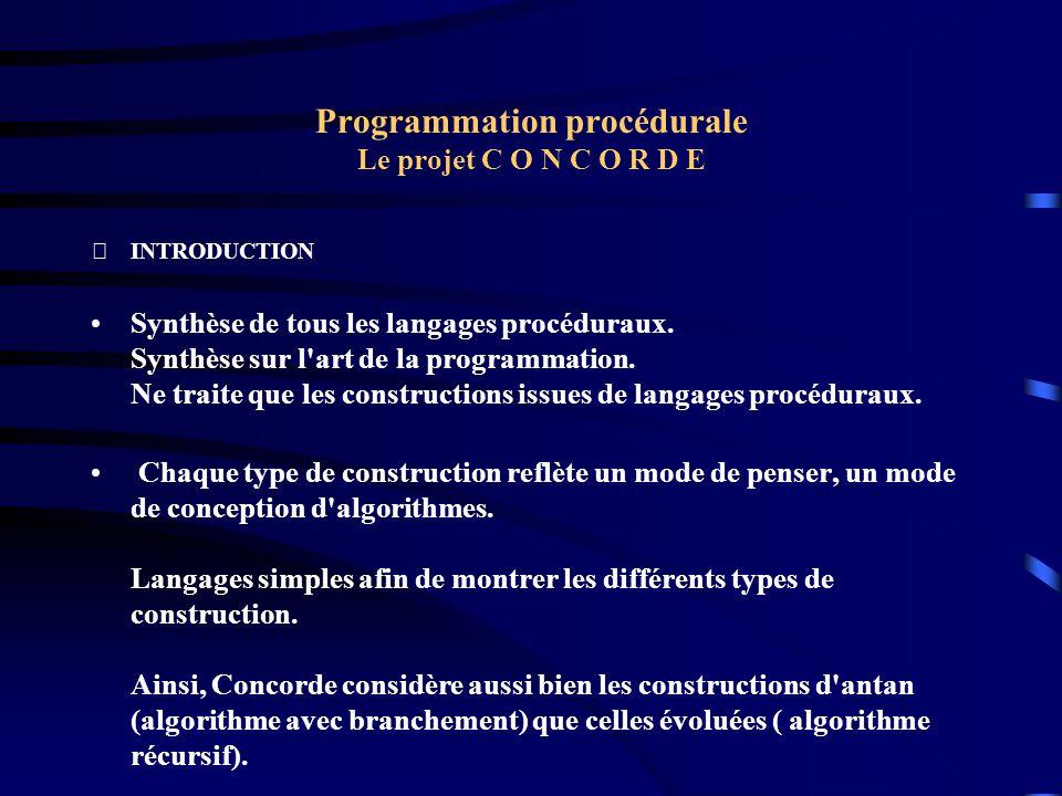 Programmation procédurale Le projet C O N C O R D E INTRODUCTION Synthèse de tous les langages procéduraux. Synthèse sur l'art de la programmation. N