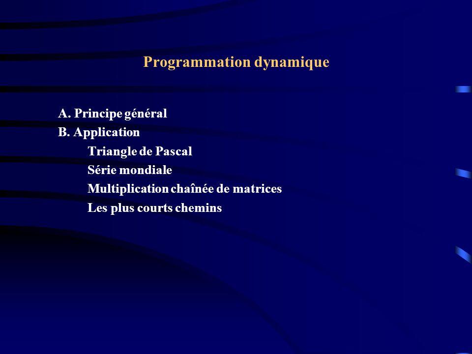Programmation dynamique A. Principe général B. Application Triangle de Pascal Série mondiale Multiplication chaînée de matrices Les plus courts chemin