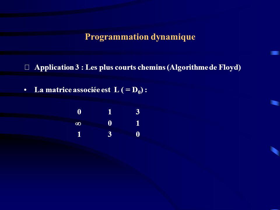 Programmation dynamique Application 3 : Les plus courts chemins (Algorithme de Floyd) La matrice associée est L ( = D 0 ) : 013 01 130