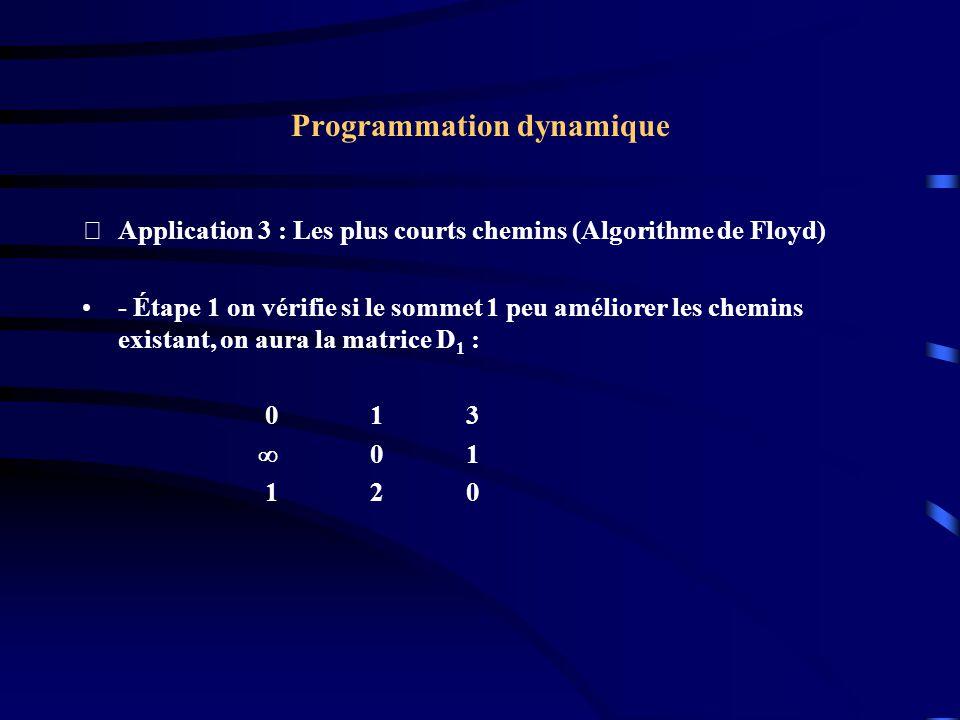 Programmation dynamique Application 3 : Les plus courts chemins (Algorithme de Floyd) - Étape 1 on vérifie si le sommet 1 peu améliorer les chemins e