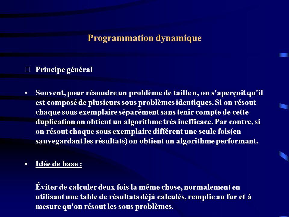 Programmation dynamique Principe général Souvent, pour résoudre un problème de taille n, on s'aperçoit qu'il est composé de plusieurs sous problèmes