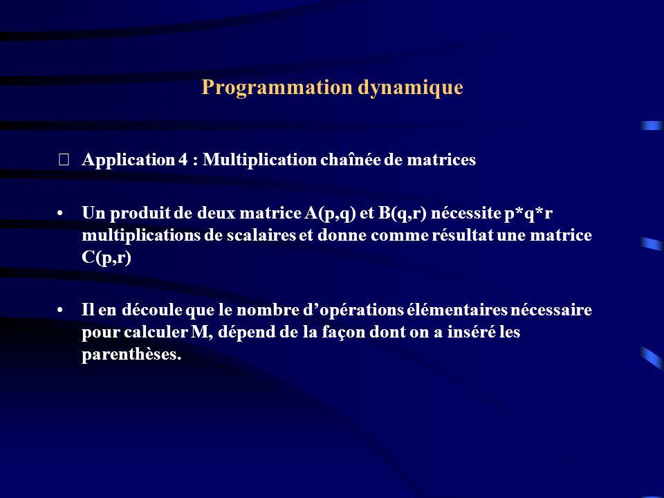 Programmation dynamique Application 4 : Multiplication chaînée de matrices Un produit de deux matrice A(p,q) et B(q,r) nécessite p*q*r multiplication