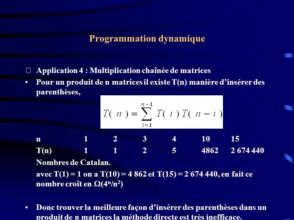 Programmation dynamique Application 4 : Multiplication chaînée de matrices Pour un produit de n matrices il existe T(n) manière dinsérer des parenthè